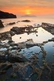 Puesta del sol del paisaje marino Imagen de archivo libre de regalías