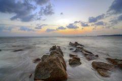 Puesta del sol del paisaje marino Fotografía de archivo
