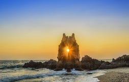Puesta del sol del paisaje marino Fotos de archivo