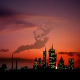 Puesta del sol del paisaje urbano de la noche de la contaminación de la ciudad ilustración del vector