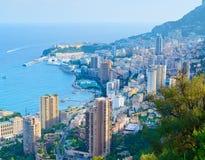 Puesta del sol del paisaje urbano de Mónaco Monte Carlo. Francia Imágenes de archivo libres de regalías