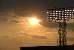 Puesta del sol del parque de Fenway Fotos de archivo