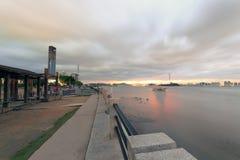 Puesta del sol del parque de la bahía Fotografía de archivo