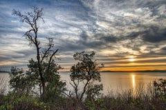 Puesta del sol del peñasco de Magnola Foto de archivo