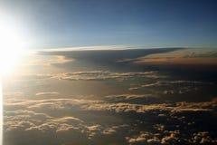 Puesta del sol del plano Imagenes de archivo