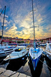 Puesta del sol del pueblo de Sali en la opinión de la vertical del puerto Fotos de archivo libres de regalías