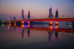 Puesta del sol del puente Foto de archivo libre de regalías