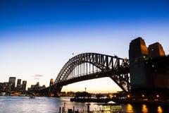 Puesta del sol del puente de Sydney Fotos de archivo