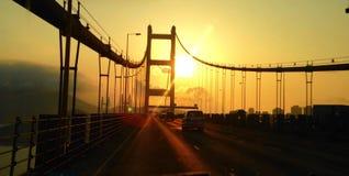 Puesta del sol del puente de Tsing mA Imagen de archivo libre de regalías