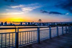 Puesta del sol del puente del arco iris fotos de archivo libres de regalías