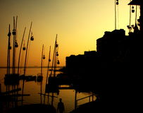 Puesta del sol del puerto Foto de archivo