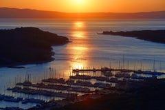 Puesta del sol del puerto Fotografía de archivo