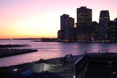 Puesta del sol del puerto de Nueva York Foto de archivo