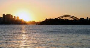 Puesta del sol del puerto de Sydney Foto de archivo libre de regalías