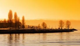 Puesta del sol del puerto de Vancouver imágenes de archivo libres de regalías