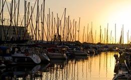 Puesta del sol del puerto deportivo foto de archivo libre de regalías