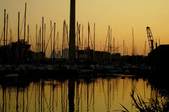 Puesta del sol del puerto deportivo imagen de archivo libre de regalías