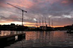 Puesta del sol del puerto en Bristol Imagen de archivo libre de regalías
