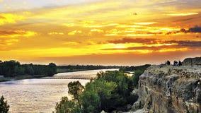 Puesta del sol del río Foto de archivo libre de regalías
