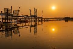 Puesta del sol del río Imagen de archivo