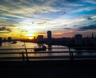 Puesta del sol del río de Chaopraya Imagen de archivo