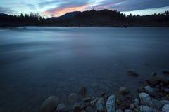 Puesta del sol del río de Chilliwack Imágenes de archivo libres de regalías