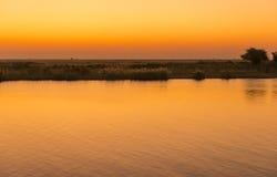 Puesta del sol del río de Chobe Fotos de archivo libres de regalías
