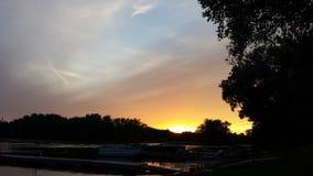 Puesta del sol del río Misisipi Foto de archivo libre de regalías