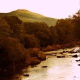 Puesta del sol del río Usk País de Gales Reino Unido Foto de archivo