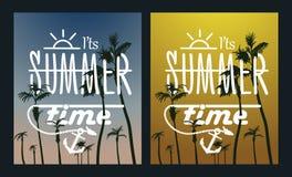 Puesta del sol del árbol de la Isla-palma del paraíso sistema del cartel del verano Imágenes de archivo libres de regalías