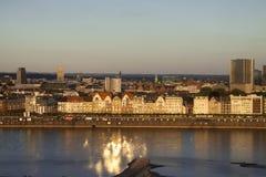 Puesta del sol del Rin Foto de archivo libre de regalías