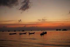 Puesta del sol del rojo del mar Fotos de archivo