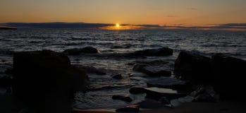 Puesta del sol del superior de lago Fotografía de archivo