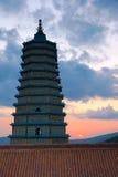 Puesta del sol del templo Fotografía de archivo libre de regalías