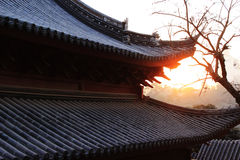 Puesta del sol del templo Fotografía de archivo