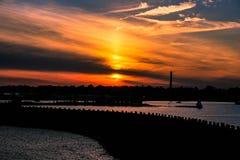 Puesta del sol del tiempo de primavera Foto de archivo libre de regalías