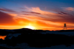 Puesta del sol del verano en Ant3artida Imágenes de archivo libres de regalías