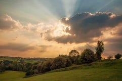 Puesta del sol del verano en Herefordshire Imagen de archivo