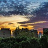 Puesta del sol del verano en Madrid Imagen de archivo libre de regalías