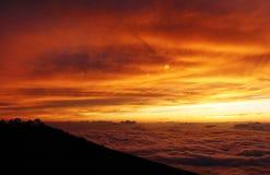 Puesta del sol del volcán en Maui Imagen de archivo libre de regalías