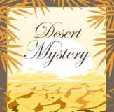 Puesta del sol del desierto con las hojas de palma Fondo del capítulo stock de ilustración