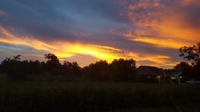 Puesta del sol después de las lluvias Fotografía de archivo