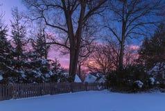 Puesta del sol después de una tormenta de la nieve Fotos de archivo