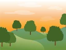 Puesta del sol detrás de árboles Imagenes de archivo