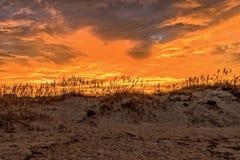Puesta del sol detrás de las dunas en Virginia Beach foto de archivo