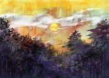 Puesta del sol detrás del árbol Fotografía de archivo