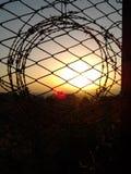 Puesta del sol detrás del alambre de púas Fotos de archivo libres de regalías