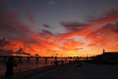 Puesta del sol dramática del fuego Fotografía de archivo libre de regalías