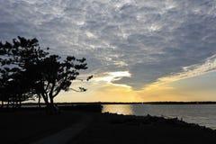 Puesta del sol dramática Newport Rhode Island los E.E.U.U. Fotografía de archivo
