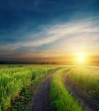Puesta del sol dramática sobre el camino sucio Imagenes de archivo